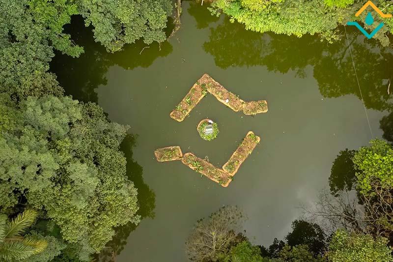 Instalação de Floating Islands no Parque Burle Marx